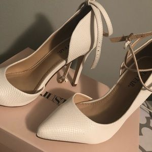 JustFab Shoes - Pointed Toe White Pumps